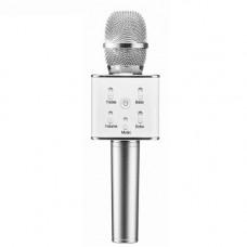 Беспроводной микрофон караоке блютуз Q7 Bluetooth динамик USB СЕРЫЙ В ЧЕХЛЕ