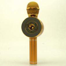 Беспроводной микрофон караоке блютуз WSTER WS-668 Bluetooth динамик USB Золотой