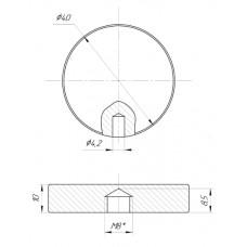 ODF-06-17-02 Коннектор круглый d40 с боковым отверстием М8, для стеклянных перил и ограждений из стекла, полир
