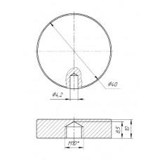 ODF-06-19-02 Коннектор круглый d40 с боковым отверстием М10, для стеклянных ограждений и перил из стекла, пол.
