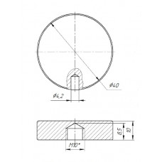 ODF-06-19-21 Коннектор круглый d40 с боковым отверстием М10, для стеклянных ограждений и перил, черный