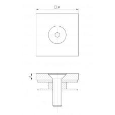 ODF-06-07-02 Коннектор квадратный 38х38, для стеклянного ограждения и перил из стекла, полированный